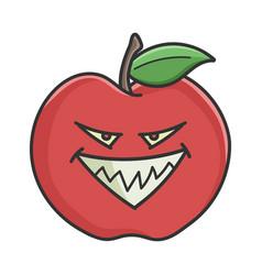 Evil grin red apple cartoon apple vector