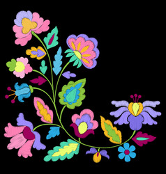 Fantasy flowers embroidery pattern vector