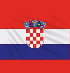 Flag croatia swaying in wind realistic vector