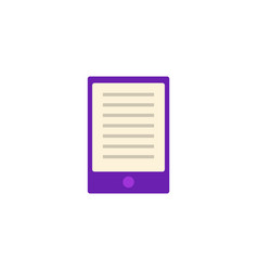 flat purple tablet or palmtop with text at screen vector image