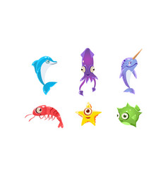 Flat set of marine creatures with big eyes vector