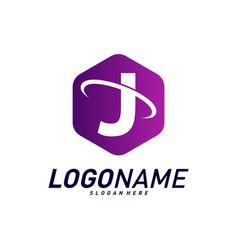 Font with planet logo design concepts letter j vector