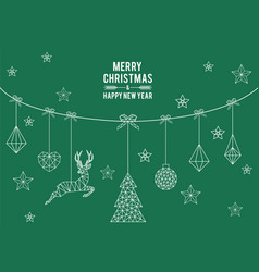 geometric christmas card simple modern line art vector image