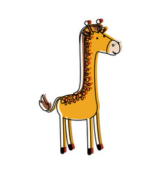 Giraffe cartoon in watercolor silhouette with thin vector