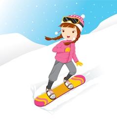 Girl Snowboarding vector