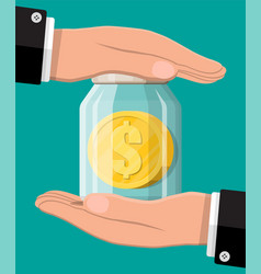 Glass money with gold coin and hands vector