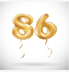 Golden number 86 eighty six metallic balloon vector