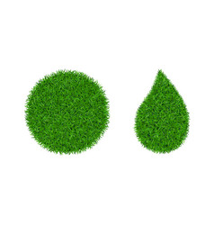 green grass 3d set green round ball drop vector image