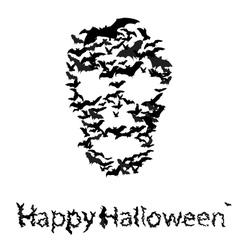 Halloween vecrot card skull shape of bats vector image