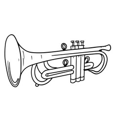 hand drawn trumpet doodle isolated on white vector image