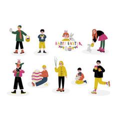 happy easter children celebrating holiday boys vector image