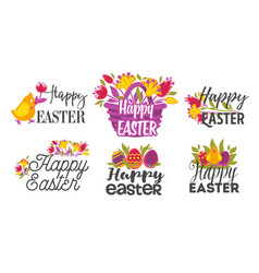 happy easter isolated greeting icons eggs and vector image