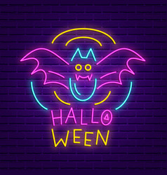 Happy halloween party neon sign bright banner vector
