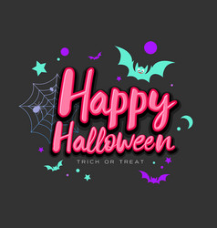 happy halloween pink message with colorful bat vector image