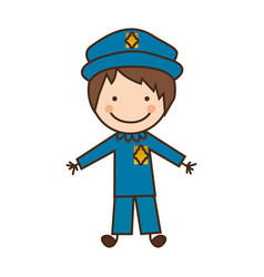Happy man police icon vector