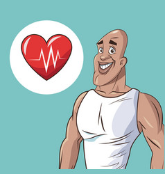 healthy man athletic heart beat icon vector image