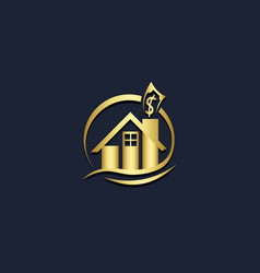 home realty money business gold logo vector image
