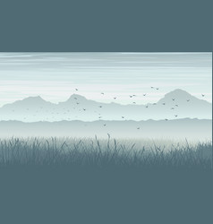 Horizontal of misty landscape with birds in sky vector