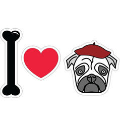 I love pug with beret vector