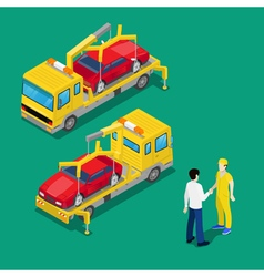 Isometric Car Assistance Roadside Tow Truck vector