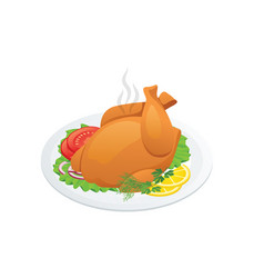 isometric grilled chicken on white background vector image
