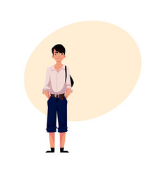 japanese teenage schoolboy in typical uniform vector image