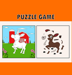 Jigsaw puzzle game with cute donkey animal vector