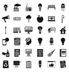 Lamp icons set simple style vector