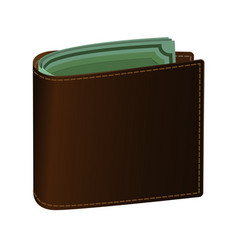 leather purse brown green banknotes are visible vector image