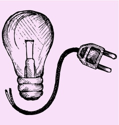 Lightbulb and plug vector image