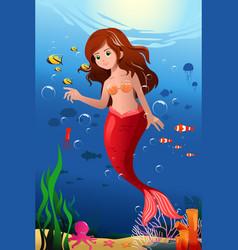 little mermaid in the ocean vector image