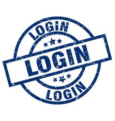 login blue round grunge stamp vector image