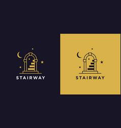 Magic door stairway logo icon vector