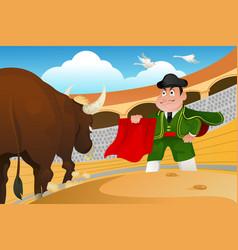 Matador and a bull vector
