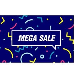 mega sale in design banner template for vector image