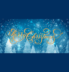 merry christmas text on winter backgrounds vector image
