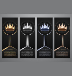 Metalic crown in black banner gold platinum vector