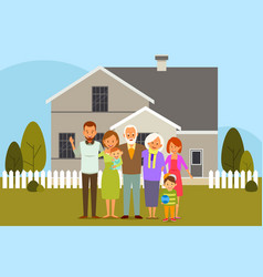 multi generation family in front of a house vector image