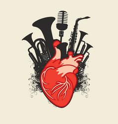 music poster with human heart and wind instruments vector image