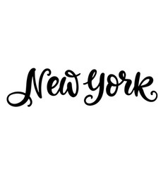 new york city hand written brush lettering vector image