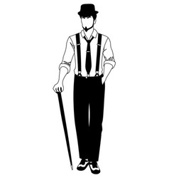 old-fashioned faceless man walking with a cane vector image