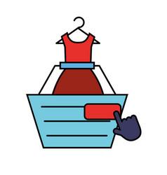 online shopping cart dress clicking vector image