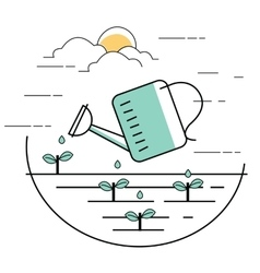 Planting pouring water into plant gardening line vector