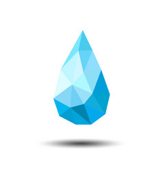 polygon water drop icon on white background vector image