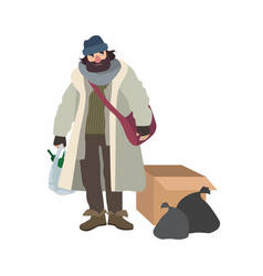 Poor homeless man dressed in ragged clothes vector