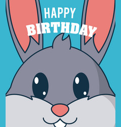 rabbit cute birthday card vector image
