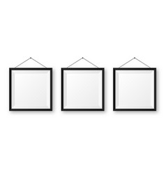 Realistic hanging on a wall blank black picture vector