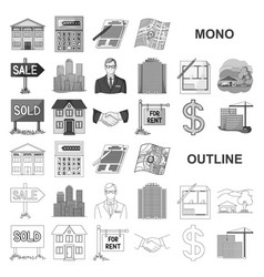 Realtor agency monochrom icons in set collection vector