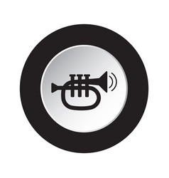 round black white button icon - trumpet and waves vector image
