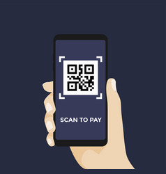 scan qr code to pay with mobile phone vector image